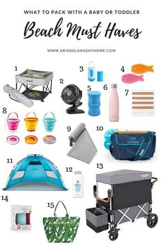 Beach Trip Discover Baby and Toddler Beach Must Haves - arinsolangeathome Find a list of the best items to pack up and take with you to the beach when youre heading to the beach with your babies or toddlers. Traveling With Baby, Travel With Kids, Baby Travel, Toddler Travel, Free Travel, Travel Bags, Traveling Outfits, Traveling Tips, Travel Luggage
