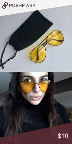 Black and Yellow Aviators Vintage glasses • unisex • gravity shades • original pilot lens • black aviator style metal frame • squeeze top pouch included with these classic yellow lens night vision aviators 🌚😎 brand new :):)  #nightvision #yellowlens #unisex #original #pilot #frame #aviators #sunglasses #retro #classic #vintage #glasses #yellow #gold #nightvision #depop #daily Accessories Sunglasses