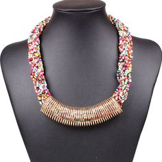 Fashion Alloy Ring Pendant Design Colorful Beads Necklace for Women Ladies Clothing Decor