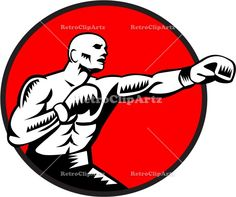 Boxer Jabbing Punching Circle Woodcut Vector Stock Illustration. Illustration of a boxer wearing boxing gloves jabbing punching boxing viewed from the side set inside circle done in retro woodcut style. #illustration #BoxerJabbing