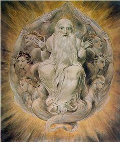 William Blake - God blessing the seventh day William Blake Paintings, William Blake Art, Harry Clarke, Cosmic Egg, English Poets, Tarot, Visionary Art, Aldous Huxley, Art History