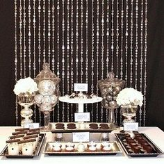 Black and White dessert Table #FEELBEAUTIFUL #WHBM