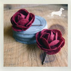 Red Roses. Flower Hairpins (Set of 2) -- (Red, Wine, Felt, Romantic, Wedding, Hair Accessory, Gift For Her Under 15, Christmas 2013, Rose)