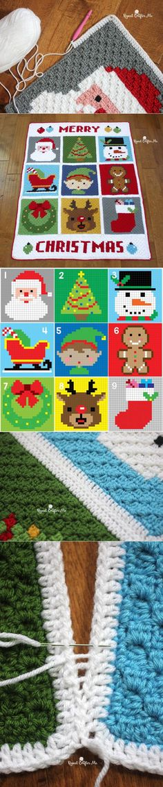 Crochet Christmas Character Afghan - Repeat Crafter Me