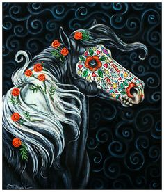 Sugar Skull Horse, Day of the Dead Art by gypsymarestudios.   I am going to copy this one day!