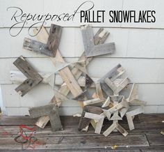 Re-purposed Pallet Snowflakes! - You can find free pallets at many different places so why not use them for your Christmas decor. Once you have the measurements…