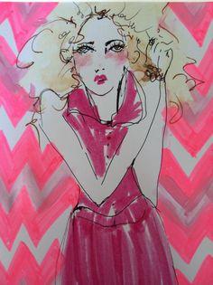Pink Chevron Print Blonde Girl by Blair by blondelasagna on Etsy