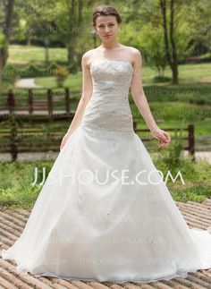 Wedding Dresses - $193.99 - A-Line/Princess Sweetheart Chapel Train Organza Satin Wedding Dress With Ruffle Beadwork Sequins (002000596) http://jjshouse.com/A-Line-Princess-Sweetheart-Chapel-Train-Organza-Satin-Wedding-Dress-With-Ruffle-Beadwork-Sequins-002000596-g596