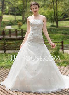Wedding Dresses - $193.99 - A-Line/Princess Sweetheart Chapel Train Organza Satin Wedding Dress With Ruffle Beadwork Sequins (002000596) http://jjshouse.com/A-Line-Princess-Sweetheart-Chapel-Train-Organza-Satin-Wedding-Dress-With-Ruffle-Beadwork-Sequins-002000596-g596