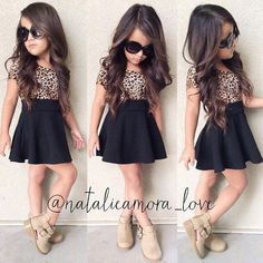 Fashion Kids Girl's Leopard Patchwork Short Sleeve High Waist Casual Pleated Dress G Little Girl Outfits, Cute Outfits For Kids, Little Girl Fashion, Toddler Fashion, Toddler Outfits, Kids Fashion, Latest Fashion, Kids Outfits Girls, Fashion 2016