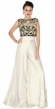 1dd23dc9c2 Cream jumpsuit with zari embroidered crop top Cream Jumpsuit