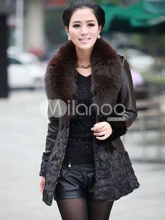 Black Sheepskin Mink Fur Fox Fur Collar Womens Fur Coat. See More Fur Coats at http://www.ourgreatshop.com/Fur-Coats-C798.aspx
