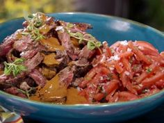 Cuban Skirt Steak with Tomato Escabeche and Mango Steak Sauce Recipe : Bobby Flay : Food Network