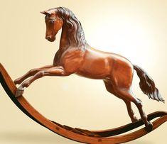 Silver Jubilee Mahogany Rocking Horse Enlarged...Gorgeous!