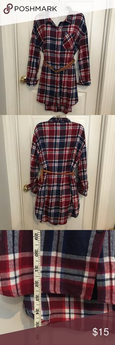0c7ccd711e05 ADORABLE plaid shirt dress Sooo cute with tan boots or flats. Lightweight  flannel red white