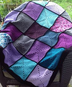 Basic Granny Square Patchwork Crochet Afghan by DapperCatDesigns, $65.00