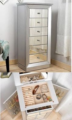 jewelry boxes mirrored jewelry cabinet armoire chest holder room mirror organizer storage box buy - Stand Up Jewelry Box