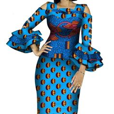 African Print Ruffles Sleeve Tops and Skirt Sets Knee-length clothing – DRESS THE LADIES Couples African Outfits, African Wear Dresses, African Attire, Classic Work Outfits, African Print Fashion, Fashion Sewing, Printed Skirts, Ruffle Sleeve, Traditional Outfits