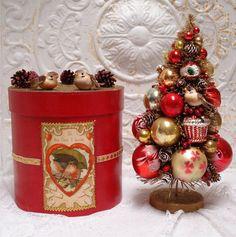 21 Vintage Bottle Brush Tree Love Birds Red by GumDropSugarShop, $85.00 SOLD