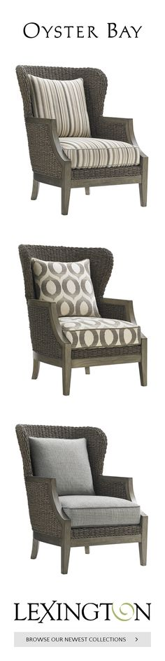 Our favorite custom accent chair shown in a relaxed stripe, a fun geometric and a plaid.