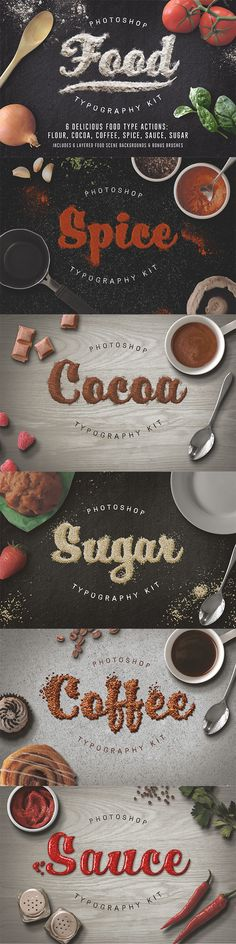 6 Delicious Food Typography Psd Actions - Text Effects Actions