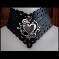 Sterling Heart  Leather Lace Collar   BoundbySilver - Jewelry on ArtFire