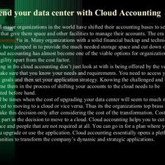 Extend your data center with Cloud AccountingAlmost all major organizations in the world have shifted their accounting bases to serviceproviders that give t. http://slidehot.com/resources/extend-your-data-center-with-cloudaccounting.51333/