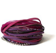 boho leather wrap bracelet, ribbon, suede, beads, purple, pink, rocker, triple wrap on Etsy, £20.00