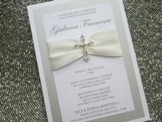 Baptism Invitation with Crystal Cross by PurpleandPlatinum on Etsy, $4.75