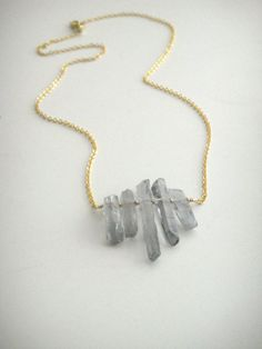 London Blue Titanium Crystal Points on 16k Gold Chain - Long Necklace