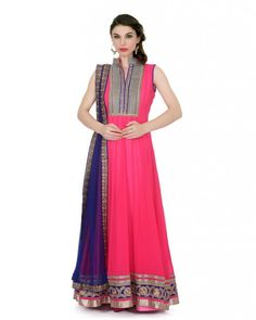 Neon Pink Anarkali - Kali flair with neon pink in 80gm georgette with heavy velvet kasab work border on it,net royal blue dupatta with net fabric raw silk kasab border on it  #Bridalparty #Bridetobe #Wedding #Shesaidyes #Boutiques #Style #Promo #Shoppingtime #Musthave #Ootd #Potd #Qotd #Fashion #Shopping #WomenWear #IndianWear #Style #Blogger #Mumbai #Wedding #OutfitOfTheDay #Fashion #Anarkali #Traditional #Shopping #WomenWear #DesignerWear #Designer #FashionDesigner #IndianDesigner