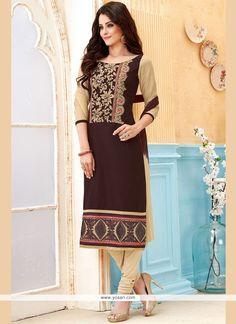 Pleasance Cotton   Embroidered Work Churidar Suit Model: YOS9571