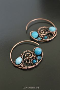 Wire wrap earrings copper earrings agates by LenaSinelnikArt
