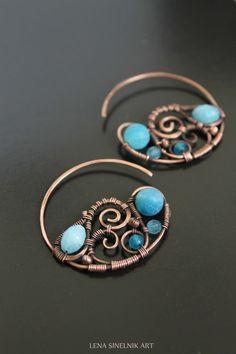 Wire wrap earrings copper earrings agates by LenaSinelnikArt