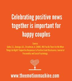 We are often told how important it is to be there for our spouse or loved one when they are feeling down, but research shows it is just as important to be there when they are feeling good too. So when someone shares something about their day that made them happy or feel good, make sure you're actually listening and enjoying it with them.
