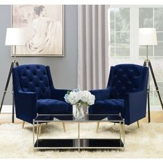 Reese Accent Chair With Gold Legs Navy Blue - Picket House Furnishings sloan painted furniture painted furniture furniture laminate furniture ideas Blue And Gold Living Room, Blue Living Room Decor, Glam Living Room, Formal Living Rooms, Living Room Chairs, Living Room Designs, Blue Living Room Furniture, Blue Velvet Sofa Living Room, Blue Velvet Chairs