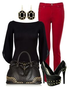 A fashion look from November 2012 featuring boatneck shirt, red skinny jeans and spiked shoes. Browse and shop related looks. Chic Outfits, Fashion Outfits, Womens Fashion, Fashion Trends, Fashion Sets, Dressy Outfits, Fall Winter Outfits, Autumn Winter Fashion, Fall Fashion