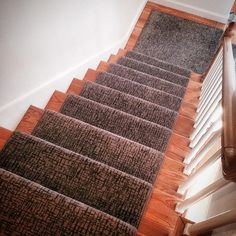 We are the carpet and rug experts in Boston. We will custom fabricate stair runners, area rugs and hall runners to fit your home perfectly. Interior Stair Railing, Modern Stair Railing, Carpet Stair Treads, Wood Staircase, Modern Stairs, Staircase Design, Stair Design, Stair Runner Rods, Sisal Stair Runner