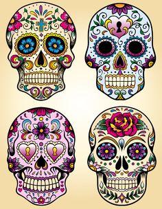 This is Calavera Skull Dia De Los Muertos Tattoo Design photo 1 Caveira Mexicana Tattoo, Tattoo Caveira, Sugar Skull Tattoos, Sugar Skull Art, Sugar Skulls, Skull Candy Tattoo, Sugar Skull Design, Mexican Skull Tattoos, Sugar Skull Painting