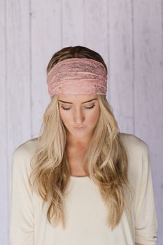Peachy Pink Lace Headband Stretchy Wide Lace Turband Head Covering For Women or Teens with Lace Covered Elastic Two Layers on Etsy, $16.99
