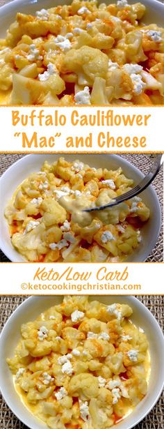"""Keto recipe with cheese base. Buffalo Cauliflower """"Mac"""" and Cheese - Keto and Low Carb Step by step instructions Low Carb Keto, Low Carb Recipes, Diet Recipes, Cooking Recipes, Healthy Recipes, Salad Recipes, Simple Recipes, Healthy Meals, Delicious Recipes"""