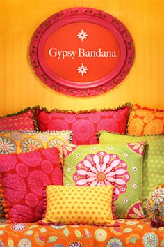 Gypsy Bandana from Pillow & Maxfield. Love these vibrant colors!