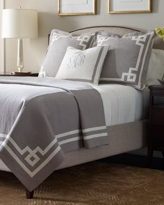 Awesome linens from Legacy Linens in Navy and white or Gray & white!