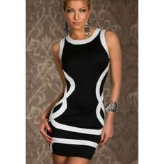 $12.73 Scoop Neck Color Block Cotton Blend Sleeveless Sexy Style Dress For Women
