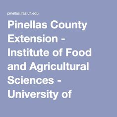 Pinellas County Extension - Institute of Food and Agricultural Sciences - University of Florida Agricultural Science, University Of Florida, Extensions, Nutrition, Lawn, Food, Essen, Meals, Hair Extensions