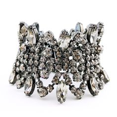 Wide Vintage Sherman Bracelet With Grey Coloured Crystals And Japanning from Vintage Jewelry Girl! #vintagejewelry #sherman #vintage #jewelry
