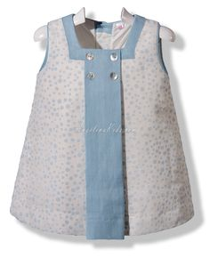 Vestido trapecio en lino flocado Oh my, beautifully made and beautiful buttons