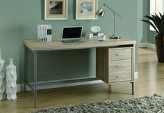 Monarch Specialties 7245 Home & Office Computer Desk with Drawers-Metal Frame, L, Natural Metal Computer Desk, Home Office Computer Desk, L Office, Office Table, Office Ideas, Desk Ideas, Office Nook, Office Designs, Table Desk