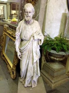"Wonderful Old Plaster Statue  With just the right amount of distress.  5'5"" Tall x 18"" Wide  Parkhouse Antiques  114 Parkhouse  Dallas, TX 75207  Call for appointment.  Like us on Facebook"