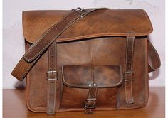 Pure Genuine 15 inches/inch Fully Padded Handmade Soft Leather Laptop/Messenger Satchel Shoulder Bag/handbag/office briefcase-Perfect gift. $85.00, via Etsy.